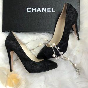 Authentic Chanel Black Suede Cap Toe Pumps